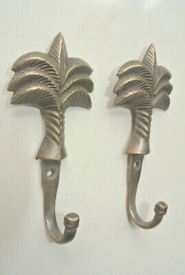 "6 small PALM BRASS HOOK COAT WALL MOUNTED HANG TROPICAL old style hook 4"" B 3"