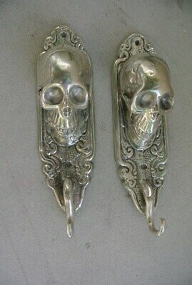 "2 small silver plated SKULL HOOKS BRASS old vintage style antique 6 "" long B 10"