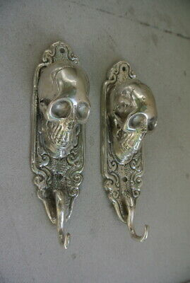 "2 small silver plated SKULL HOOKS BRASS old vintage style antique 6 "" long B 9"