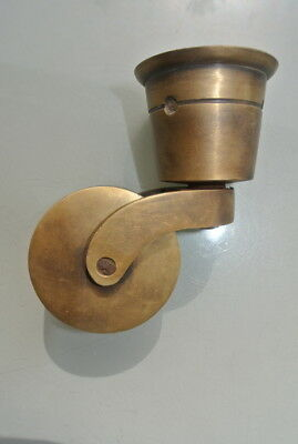 4 big CUP solid Brass foot castors wheel chairs table old antique style castor B 2