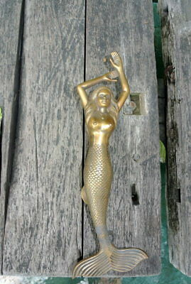 "amazing LEFT MERMAID solid brass door PULL very heavy lady handle 15"" aged B 7"