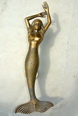 "amazing LEFT MERMAID solid brass door PULL very heavy lady handle 15"" aged B 3"