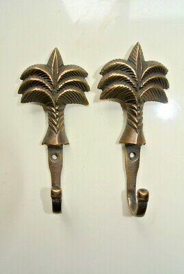 "3 small PALM BRASS HOOK COAT WALL MOUNTED HANG TROPICAL old style hook 4"" 2"