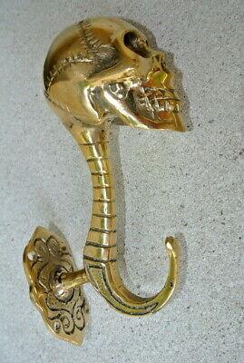 """2 SKULL head 5"""" long WALL HOOK heavy polished BRASS 13cm long SCREW wall spine B 3"""