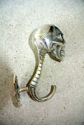 "2 SKULL head 5"" long WALL HOOK heavy BRASS silver 13cm long  SCREW wall spine B 3"