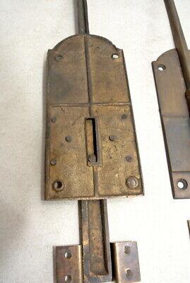 "2 long flush BOLT french aged style doors 18 "" heavy solid brass slide 47cm B 5"