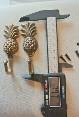 "4 very small PINEAPPLE BRASS HOOK COAT WALL MOUNTED HANG old style hook 3"" 6"