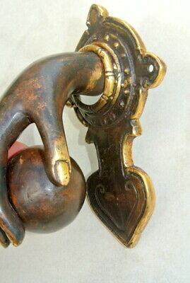 hand fist ball front Door Knocker fingers solid brass hollow 16 cm old style B 2