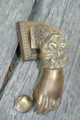 "5"" vintage style heavy front Door Knocker SOLID BRASS aged patina fist HAND B 8"