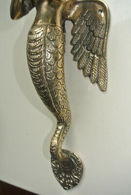 """praying Dewi brass door antique polished old style house PULL handle 12"""" wingB 2"""