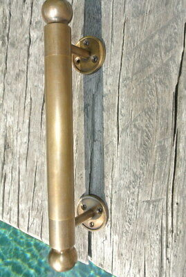 "2 DOOR handle pull solid brass Hollow old vintage aged brass retro style 10"" B 4"