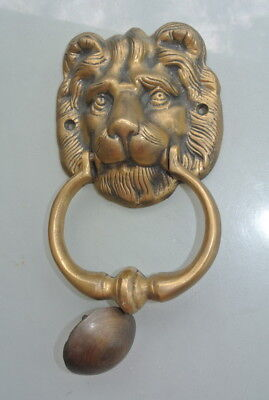 """used LION head heavy Door Knocker SOLID BRASS vintage antique style house 7"""" 3"""