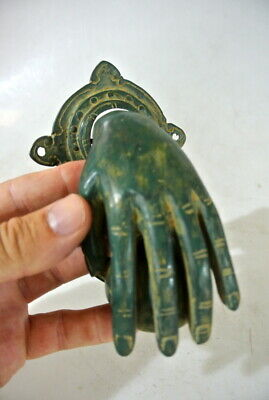 "hand fist ball brass Door Knocker hand fingers 6 "" inches long oxidised green B 5"