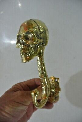 "2 SKULL head 7"" WALL HOOK heavy BRASS polished SCREW wall spine hang 18 cm B 12"