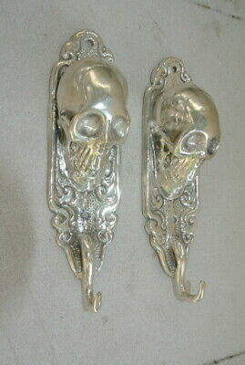 "2 small silver plated SKULL HOOKS BRASS old vintage style antique 6 "" long B 8"