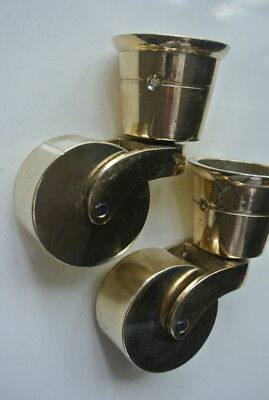 2 big polished CUP solid Brass foot castors wheel chairs tables 9cm high polishB 7