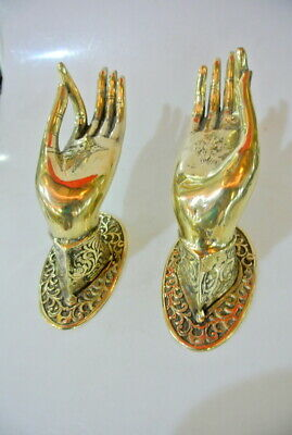 2 exquisite large Buddha Pull handle Finger door polished brass HAND 20cm hook B 2
