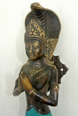 """used praying Dewi brass door aged old style house PULL handle 12"""" wing B 3"""