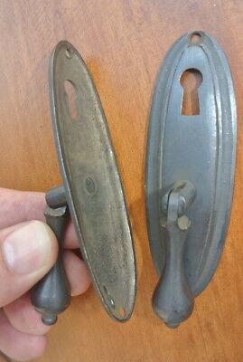"4 oval drop Pull knob pulls handles 4"" brass door key hole vintage old style B 6"