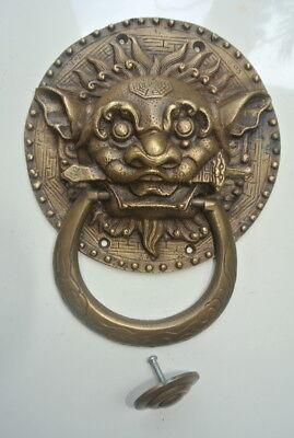 "large Solid foo dragon heavy pure Brass Door Knocker 7"" Chinese dog Head ring B 2"