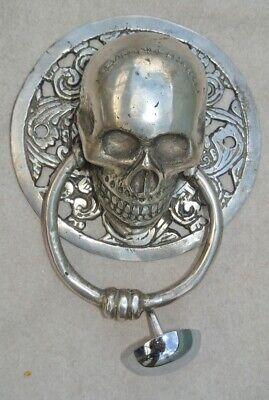 "round SKULL head ring pull Handle sILVER BRASS 4"" day of the dead door KNOCKER B 5"