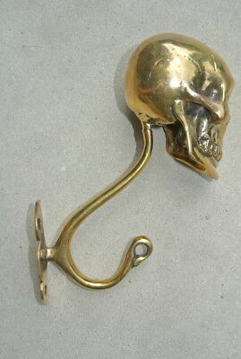 "2 Large SKULL HOOKS Polished hollow real Brass old style day the dead 6 ""long B 7"