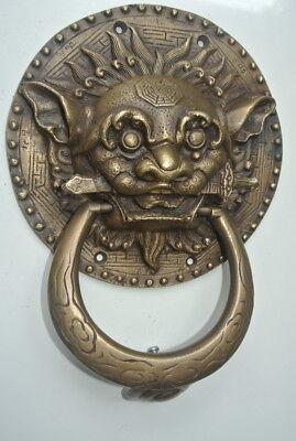 "large Solid foo dragon heavy pure Brass Door Knocker 7"" Chinese dog Head ring B 11"