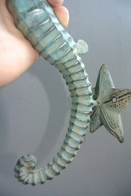 """large aged green SEAHORSE solid brass door old style 13"""" PULL handle seaside B 10"""