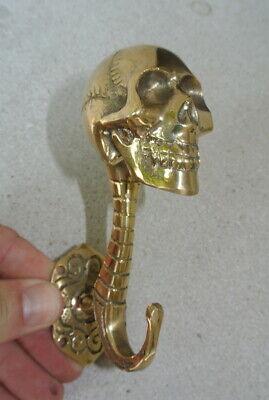 """2 SKULL head 5"""" long WALL HOOK heavy polished BRASS 13cm long SCREW wall spine B 6"""