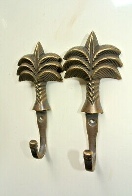 """4 small PALM BRASS HOOK COAT WALL MOUNTED HANG TROPICAL old style hook 4"""" 6"""