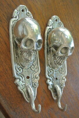 "2 small silver plated SKULL HOOKS BRASS old vintage style antique 6 "" long B 5"