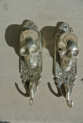 "2 small silver plated SKULL HOOKS BRASS old vintage style antique 6 "" long B 4"