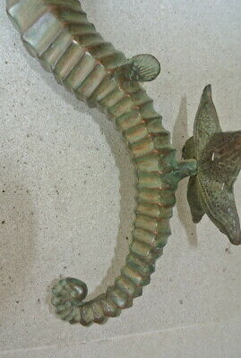 "large aged antique green SEAHORSE solid brass door old style 13"" PULL handle B 8"
