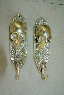 "2 small silver plated SKULL HOOKS BRASS old vintage style antique 6 "" long B 6"