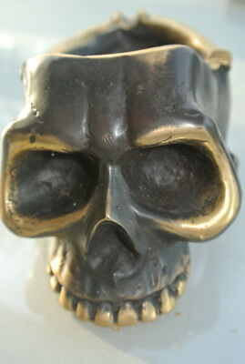 "SKULL head ash tray solid BRASS vintage style collect 6"" new day of the dead B 12"