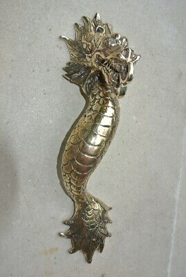 """2 Dragon door pull 30 cm POLISHED brass vintage old style house handle 12"""" B 7"""
