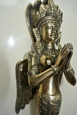 """praying Dewi brass door antique polished old style house PULL handle 12"""" wingB 3"""