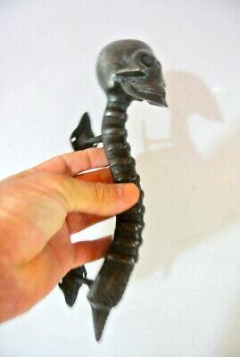 medium SKULL handle DOOR PULL spine solid brass old vintage aged DARK  28cm B 5