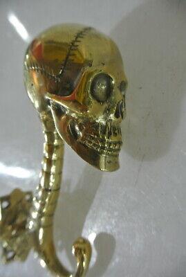 "2 SKULL head 7"" WALL HOOK heavy BRASS polished SCREW wall spine hang 18 cm B 3"
