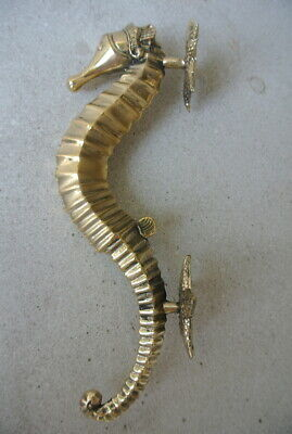 """SEAHORSE STAR 26cm brass door polished old style PULL grab handle 10"""" gate B 6"""