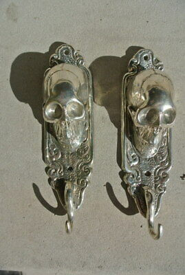 "2 small silver plated SKULL HOOKS BRASS old vintage style antique 6 "" long B 2"
