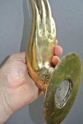 large Buddha Pull handle door Finger door HAND 25cm hook polished 100% brass B 8