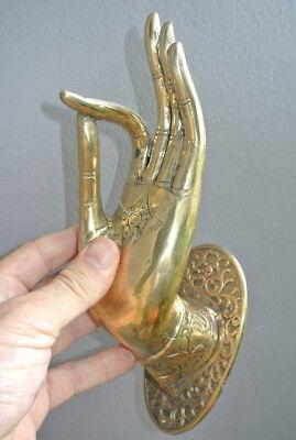 large Buddha Pull handle door Finger door HAND 25cm hook polished 100% brass B 7