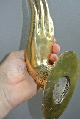 2 BUDDHA DOOR handle solid polished brass antique old style hand fingers 25 cm B 11