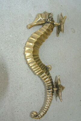 """SEAHORSE STAR 26cm brass door polished old style PULL grab handle 10"""" gate B 8"""