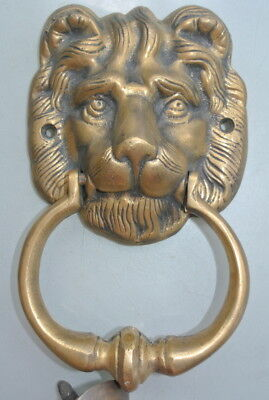 "used LION head heavy Door Knocker SOLID BRASS vintage antique style house 7"" 2"