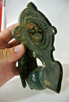 "small hand fist ball front Door Knocker hand 6 "" long fingers antique green B 4"