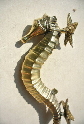 """SEAHORSE STAR 26cm brass door polished old style PULL grab handle 10"""" gate B 3"""