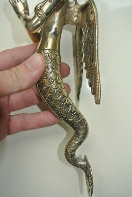 "2 praying Dewi brass door polished wings old style house PULL handle 12"" wing B 8"