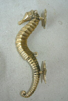 "2 small SEAHORSE STAR 26cm brass door polished old style PULL grab handle 10"" B 7"